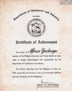 1963 AY Cert of Achievement - Dep of Commerce and Industry