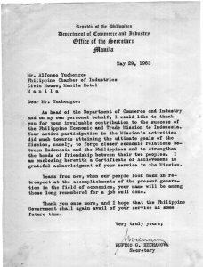 1963 AY Letter of Appreciation from Sec Hechanova