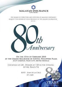 2010 Malayan 80th Anniversary celebration invitation