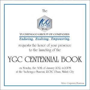 2012 YGC Centennial Book Launch Invitation