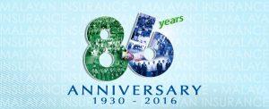 2016 Malayan Insurance 86 Years anniversary logo